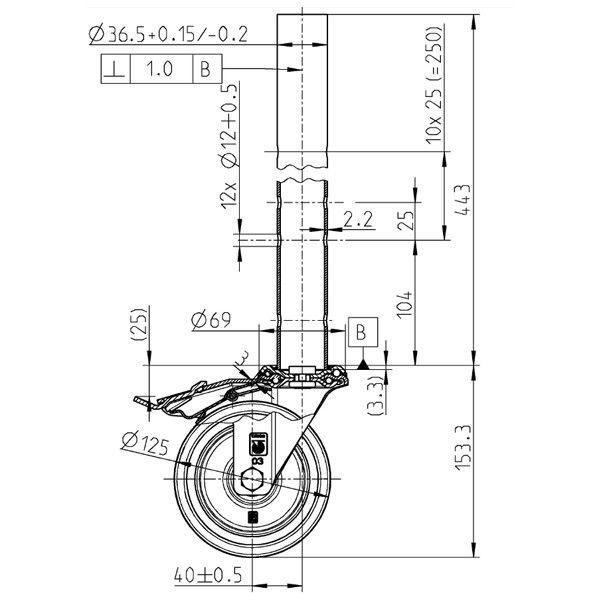 GDA250 Adjustable Castor